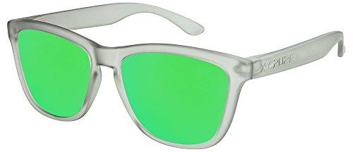 X-CRUZE® 9-044 Gafas de sol Nerd polarizadas estilo Retro Vintage Unisex Caballero Dama Hombre Mujer Gafas - gris-transparente mate / verde tipo espejo