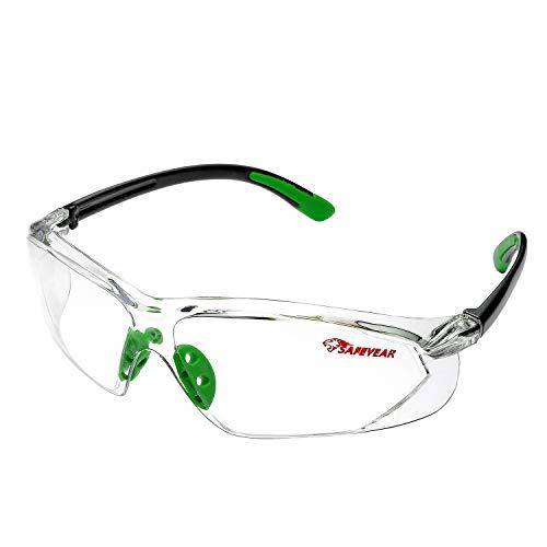 SAFEYEAR Gafas Protectoras Hombres Antiniebla - Gafas de Seguridad con Lentes Antiarañazos SG003 Color Negro y Verde