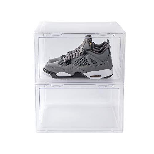 peinat Organizador Zapatos Plásticas, 1 Pcs Cajas para ZapatosTransparente Apilable y Impermeable, 35.6x28x21.5 cm Caja para Guardar Calzado de Muchos Tipos, Zapatillas, Tacones, Ahorra Espacio