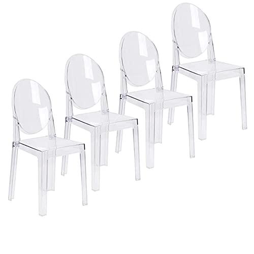 LAFII.T Silla de Comedor LAFII.T Silla de Comedor Transparente, Juego de 4 sillas de Cocina Transparentes, plástico, Desmontable y no apilable