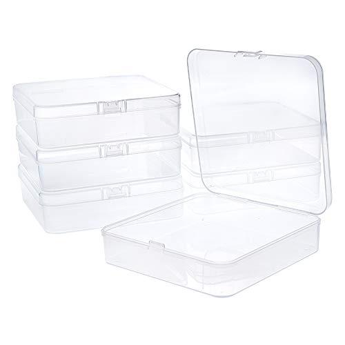 BENECREAT 6 Pack Caja de Contenedores de Almacenamiento de Plástico 12.5x12.5x3.5cm Transparente con Tapas Abatibles para Pastillas Hierbas Cuentas Pequeñas Joyería