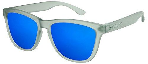 X-CRUZE® 9-036 Gafas de sol Nerd polarizadas estilo Retro Vintage Unisex Caballero Dama Hombre Mujer Gafas - gris-transparente mate / azul tipo espejo