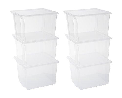 Iris Ohyama, Juego de 6 Cajas de Almacenamiento, 40 L, con Tapa, Apilable, Garaje, Dormitorio, Sala de Estar - Useful Storage Box Usb-Mp - Transparente