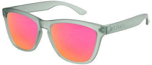 X-CRUZE® 9-041 Gafas de sol Nerd polarizadas estilo Retro Vintage Unisex Caballero Dama Hombre Mujer Gafas - gris-transparente mate / rosado-anaranjado tipo espejo
