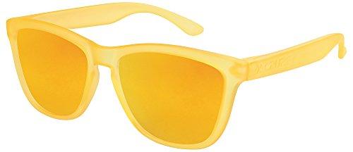 X-CRUZE® 9-061 Gafas de sol Nerd polarizadas estilo Retro Vintage Unisex Caballero Dama Hombre Mujer Gafas - anaranjado-transparente mate / anaranjado tipo espejo