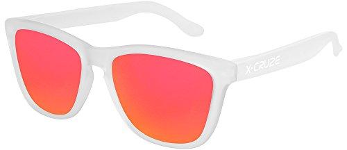 X-CRUZE® 9-050 Gafas de sol Nerd polarizadas estilo Retro Vintage Unisex Caballero Dama Hombre Mujer Gafas - transparente mate LW / rojo-anaranjado tipo espejo