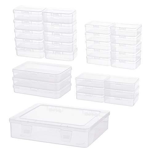 BENECREAT 30 Pack Caja de Almacenamiento de Plástico Transparente Rectangular 5 Tamaños Mixtos con Tapas Abatibles para Artículos Pequeños, Cuentas y joyería, Organización de Manualidades