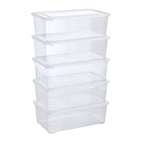 Grizzly 5 x Caja de Almacenaje con Tapa de 5 L - Cajón de Plástico Transparente Apilable - Caja Multiusos Organizador de Armarios para Ordenación de Ropa