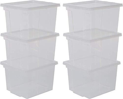 Iris Ohyama, Juego de 6 Cajas de Almacenamiento, 13 L, con Tapa, Apilable, Garaje, Dormitorio, Sala de Estar - Useful Storage Box Usb-Sp - Transparente