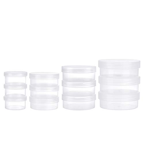BENECREAT 12 Pack Caja de PP Plástico Transparente 4 Tamaños Mixtos Estuche de Almacenamiento Utilizado para Monedas, Tornillos Pequenos, Pastillas 3 PCS/Tamaño