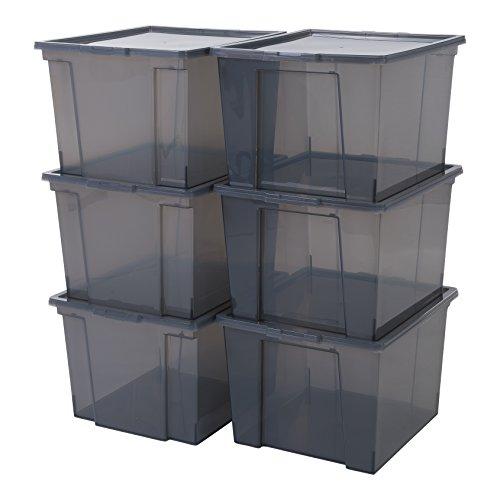 Iris Ohyama, Juego de 6 Cajas de Almacenamiento, 40 L, con Tapa, Apilable, Garaje, Dormitorio, Sala de Estar - Useful Storage Box Usb-Mp - Gris