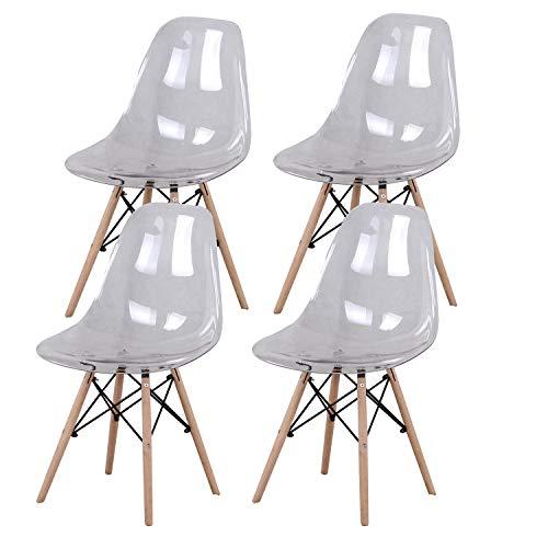 MUEBLES Home - Juego de 4 sillas de cocina modernas de mediados de siglo de plástico transparente para salón de comedor, dormitorio, sala de estar, color blanco