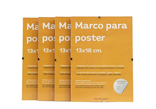 Nacnic Set 4 Marcos Transparentes de Clip Soportes Transparentes para Fotos, Posters, Diplomas, Dibujos o láminas. Tamaño 13x18cm. Marcos Clip Transparentes con plexiglas y Anclajes para Colgar.…