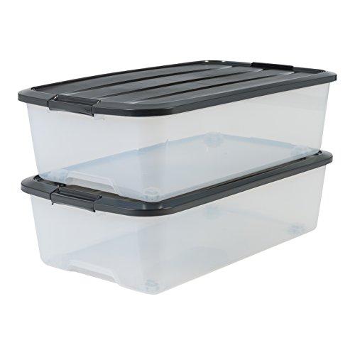 Marca Amazon - Iris Ohyama - Juego de 2 cajas de almacenamiento para cama con ruleta, TBU-40, plástico, transparente y negro, 40 L, 68 x 39 x 19,3 cm