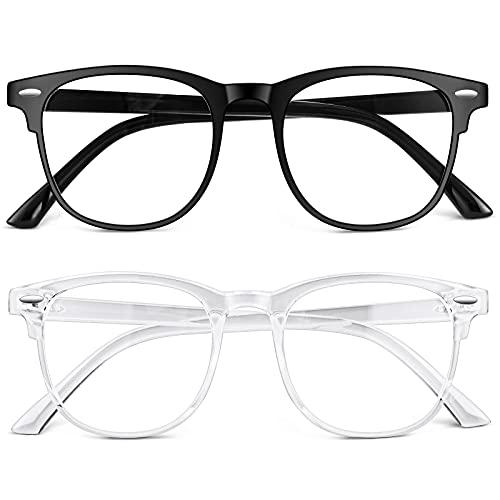 URAQT Gafas Luz Azul, 2 Pack Gafas de Ordenador, Antifatiga Gafas Anti-Azules de Gaming, Gafas de Lectura Lentes Transparente, Gafas con Filtro de Luz Azul Bloqueo para Hombre y Mujer