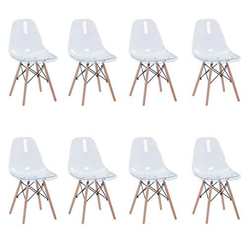 Uderkiny Juego de 4/6 sillas Sillas Transparentes con Patas de Haya Adecuado para sillas de Comedor en Sala de Estar Cocina y Oficina (Transparente-8)