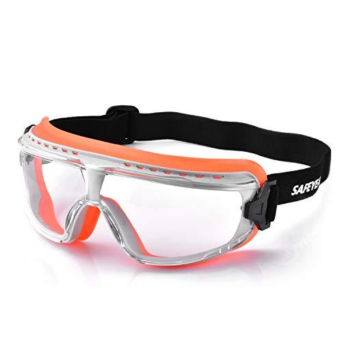 SAFEYEAR Gafas de seguridad antivaho [calidad certificada EN166] – SG036OR antiarañazos con diadema de nailon elástico para hombre y mujer, gafas de trabajo Full Pro tintadas con protección UV…