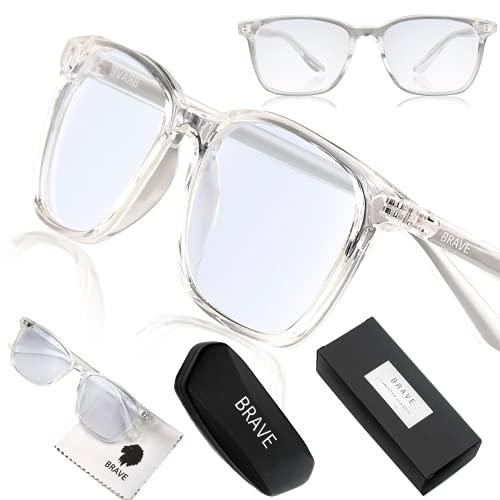 Brave Gafas Ordenador con Filtro de Luz Azul; Protección Durante Gaming, Trabajo; Anti-reflejantes para Hombre y Mujer… (Transparente)