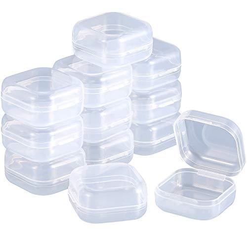 SATINIOR 12 Pack Caja Contenedor de Plástico Transparente con Tapa con Bisagra para Abalorios y Más (1,37 x 1,37 x 0,7 Pulgadas)