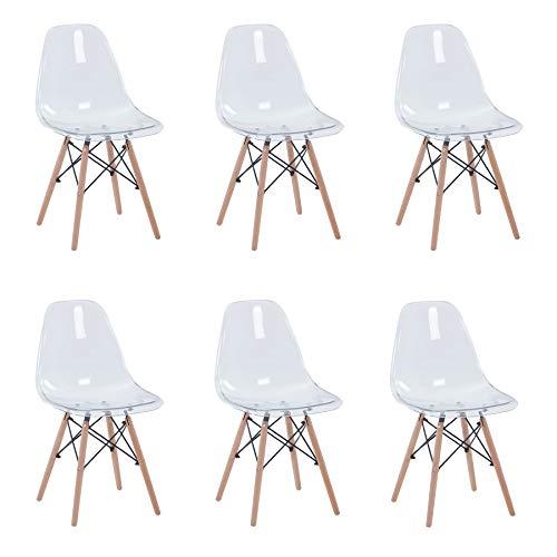 Uderkiny Juego de 4/6 sillas Sillas Transparentes con Patas de Haya Adecuado para sillas de Comedor en Sala de Estar Cocina y Oficina (Transparente-6)