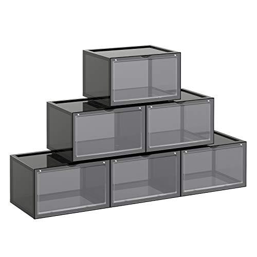 SONGMICS Cajas de Zapatos, Paquete de 6, Organizadores de Zapatos Apilables con Puerta Transparente, Zapatería de Plástico, Talla 46, 36 x 28 x 22 cm, Gris LSP031B06