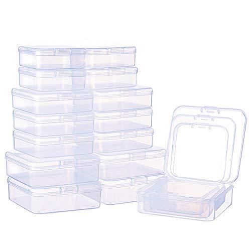 BENECREAT 27 Pack Caja de Contenedores de Almacenamiento de Plastico Transparente de Tamaño Mixto, Pequeña, con Tapa para Artículos, Pildoras, Joyas