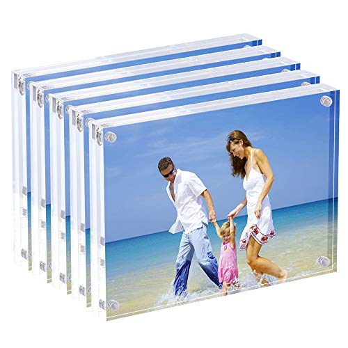 AMEITECH Marco de Fotos acrílico de 13x18 cm, Marcos magnéticos, Soporte de 10 + 10MM de Espesor en Escritorio o Mesa, Transparente - Paquete de 5