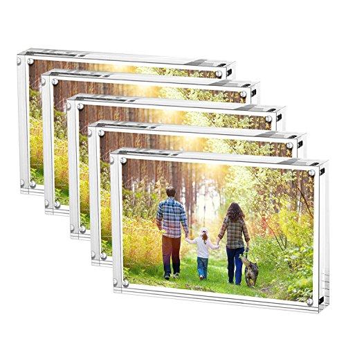 Marcos de foto Acrílicos, Acrílico Transparente Marco Foto en Cristal Personalizado (10+10 mm de espesor), Regalo de Cumpleaños y Vacaciones (10 x 15 CM Paquete de 5)