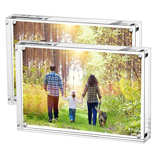 Marco de fotos de acrílico, soporte con imanes, contiene fotos de 4 X 6 pulgadas, grosor de 10 mm + 10 mm transparente (2 paquetes) de Boxalls
