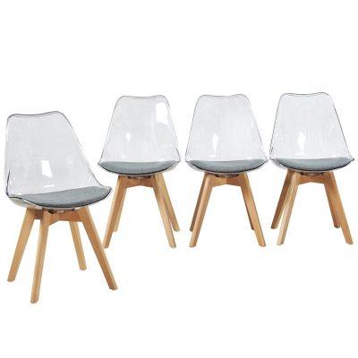 Sillas transparentes madera metacrilato de comedor oficina tienda online de artículos transparentes