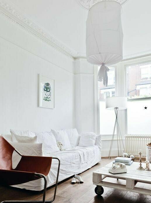 lámpara transparente de pie moderna blanca