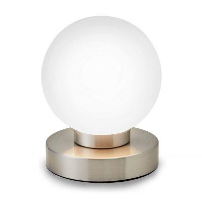 lámpara transparente de mesa táctil redonda moderna de vidrio blanca