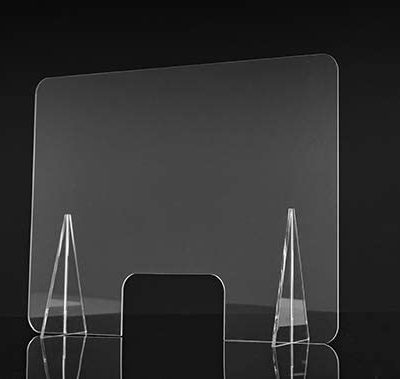 mampara de protección transparente metacrilato mostrador