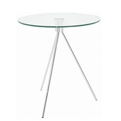 Mesa transparente auxiliar redonda de cristal para dormitorio comedor y salón base metálica para baño diseño moderno tienda de artículos transparentes online