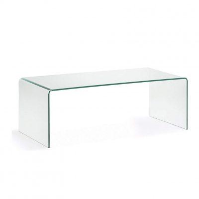 Mesa de Cristal transparente curvado de centro auxiliar para comedor salón tienda online de artículos transparentes