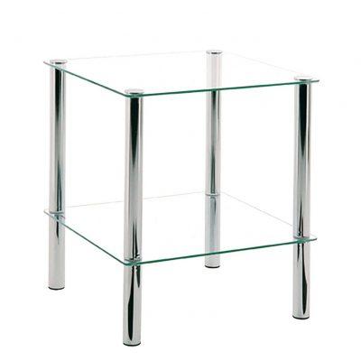 Mesas transparentes auxiliar para dormitorio baño salón comedor de cristal y base metálica de diseño moderna tienda online de artículos transparentes
