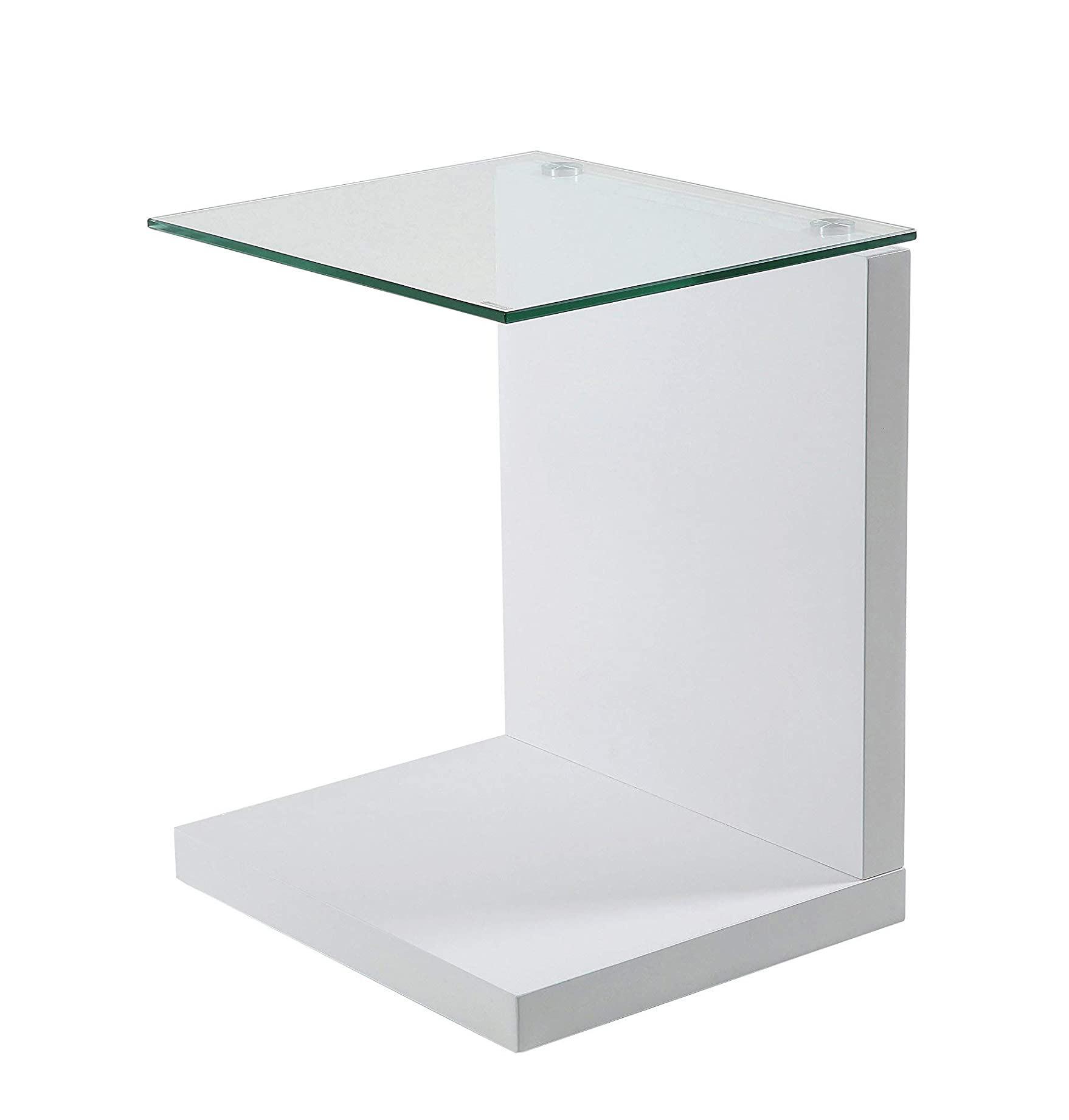 Mesa auxiliar transparente de diseño cuadrada para habitación para lámpara comedor salón tienda online de artículos transparentes vidrio templado
