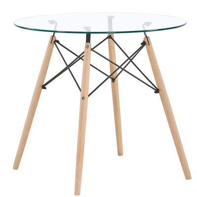 Mesa transparente redonda de cristal para comedor de cocina café tienda de artículos transparentes online