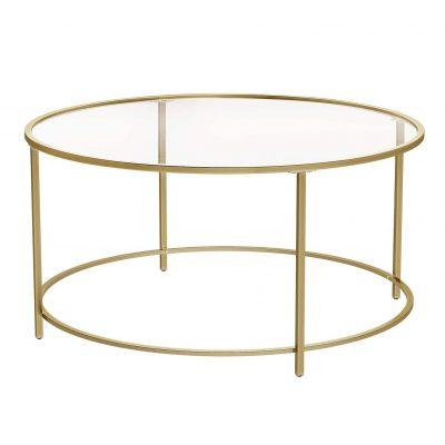 Mesa transparente de centro redonda de cristal de salón de café marco dorado tienda online de artículos transparentes