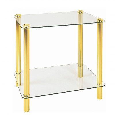 mesa transparente auxiliar dorada de cristal vintage dorada tienda online de artículos transparentes