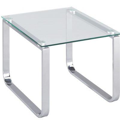 Mesa auxiliar transparente de vidrio para salón comedor dormitorio habitación con estructura metálica tienda online de artículos transparentes