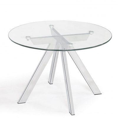 Mesa auxiliar transparente redonda de cristal de rincón para dormitorio baño comedor y salón tienda online de artículos transparentes