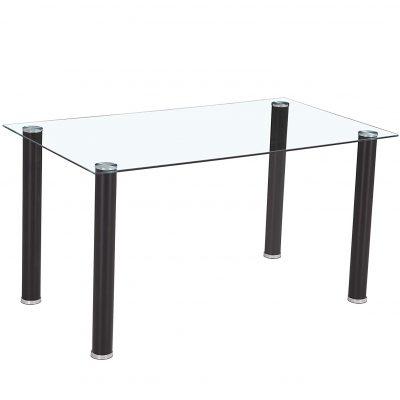 mesa de cristal transparente para comedor moderna con base metálica de color negro tienda online de artículos transparentes