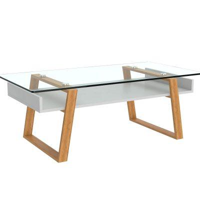 Mesas transparentes de centro de cristal templado y base de madera tienda de artículos transparentes online