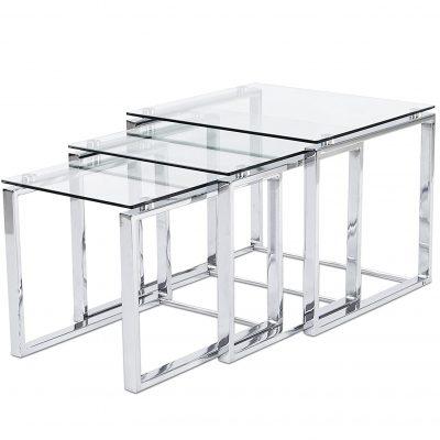 Mesas transparentes auxiliar de rincon de vidrio templado y estructura cromada de diseño moderno tienda de artículos transparentes online