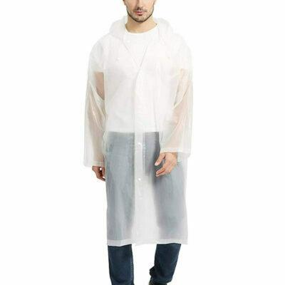 chubasquero transparente impermeable para hombre con capucha para lluvia