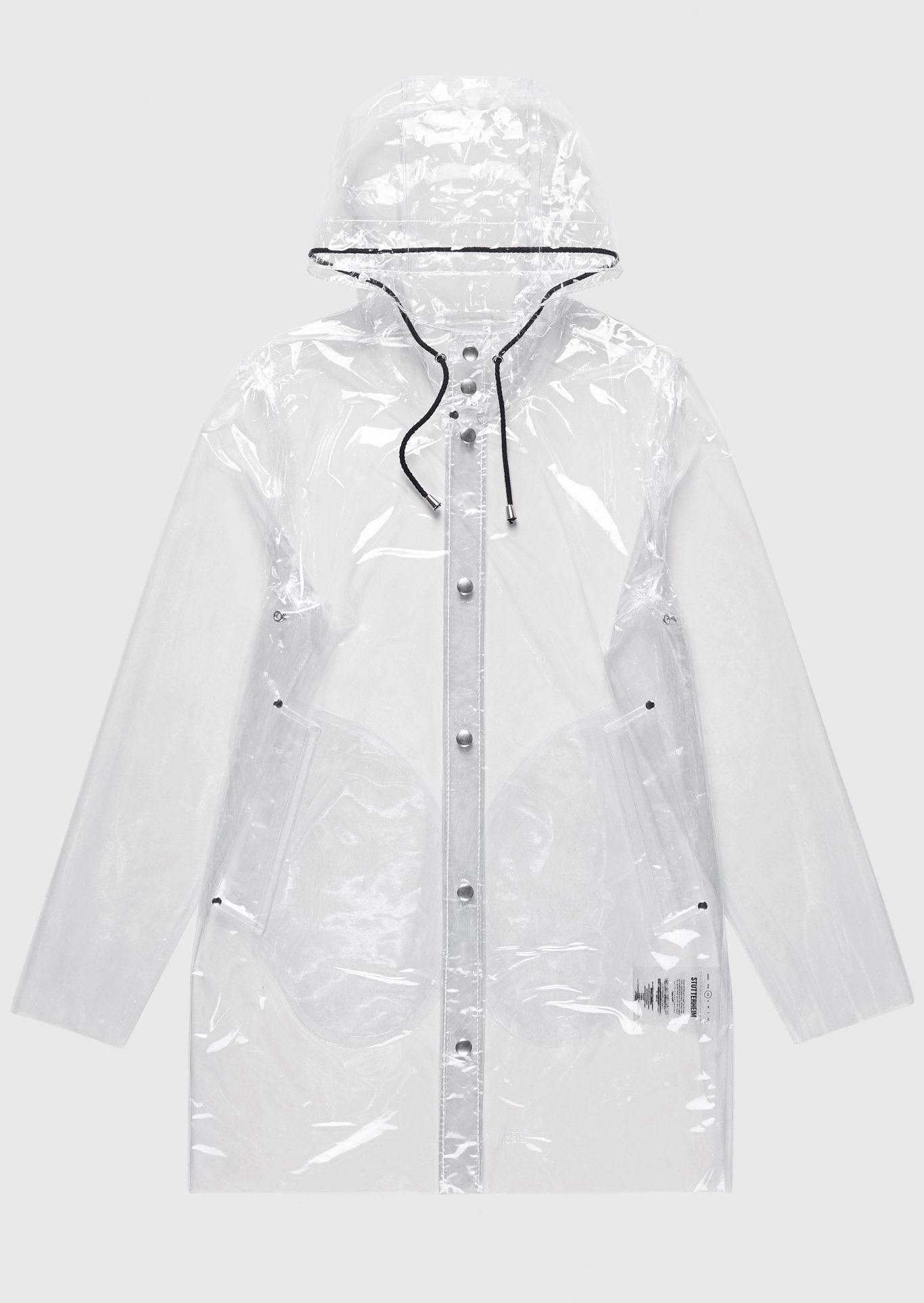 Chubasquero transparente para lluvia con capucha