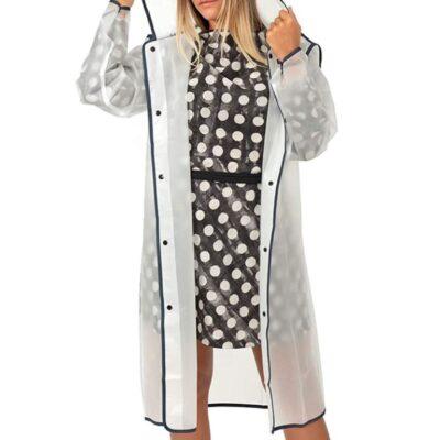 Chubasquero translucido con capucha para la lluvia para hombre y mujer
